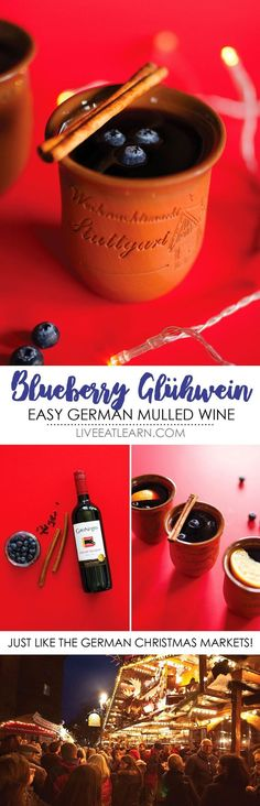 Blueberry Glühwein Experience the cozy German Christmas markets without ever leaving the comfort of your home with this Blueberry Gluhwein recipe! With only 5 ingredients, this is a simple alcoholic mulled red wine to warm your bones this winter. Vegetarian Christmas Recipes, Vegetarian Thanksgiving, Holiday Recipes, Vegetarian Recipes, Thanksgiving Recipes, Healthy Recipes, Winter Recipes, Holiday Treats, Healthy Snacks