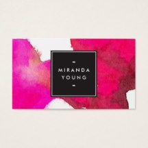 An abstract wash of fuchsia pink watercolors creates an intriguing and eye-catching backdrop on this modern business card design. This design is part of a series of coordinating office supplies. Shop matching stationery, binders, labels and more in our shop: zazzle.com/1201am. For design requests or questions, please reach out to us at www.1201am.com. Watercolor illustration and design copyright © 1201AM CREATIVE