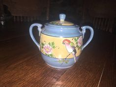 Vintage Lustreware Sugar Bowl Hand Painted Bird And Flowers