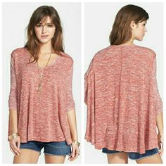Free People Huntington Swing Tee This lovely top is in a hacci knit. We the free, Featuring 3/4 sleeves. Scoop neckline.  In a lovely mulberry color. (Variegated plum/purple) A must have this Spring and Summer Season!   Available in Sizes XS- LARGE  Currently Sold Out everywhere.   Make Me An Offer!   * NO TRADES, THANKS :) Free People Tops Tees - Long Sleeve