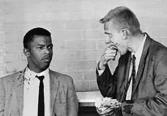 Freedom Riders John Lewis and Jim Zwerg rest after being attacked in Montgomery, Alabama. May 20, 1961.