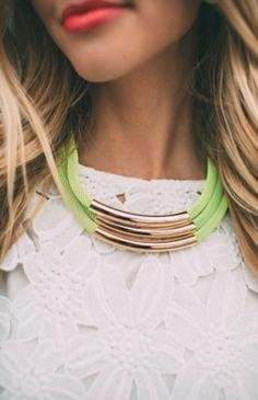 tubular neon green necklace