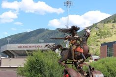 """""""Charging Forward"""" sculpture on the campus of The University of Montana in Missoula, Montana. #Missoula #Montana #grizzlies"""