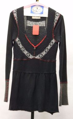 FREE PEOPLE Women Black/White/Red Cotton Blend Pullon Tunic Top Size M 760324 #FreePeople #Collarless #all