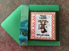 Cross Stitch Christmas Card with Moose made by Karen Miniaci.