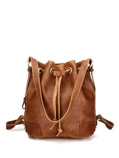 Shop Shoulder Bags - Brown Cowhide Leather Drawstring Shoulder Bag online. Discover unique designers fashion at StyleWe.com.