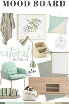 Natural Earthling — Adore Home Magazine Mood Board Interior Design Living Room, Living Room Decor, Kitchen Interior, Mint Decor, Apartment Decoration, Deco Nature, Luxury Rooms, House And Home Magazine, Lofts