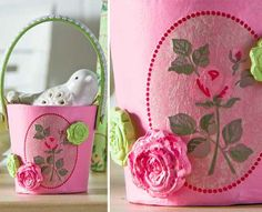 Mini Easter Basket Party Favor - click thru for the full how to on this Easter brunch or dinner tables cape idea #modpodge #easter #plaidcrafts #decoupage