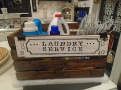crate reused for laundry organizer