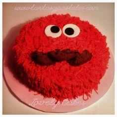 Tarta Triki, el monstruo de las galletas en rosa