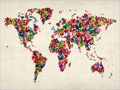 This is really cool! World map made of small butterfly pins!