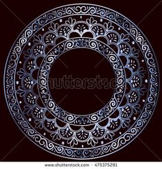 drawing of a round silver gradient frame  with floral ornament on a black background