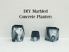 Learn how to make marbled concrete planters - www.rowhousenest.com