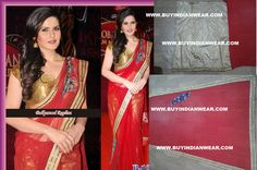 $99 Stunning Zareen Khan Saree with free shipping offer only at www.buyindianwear.com