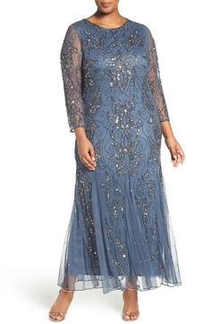 Free shipping and returns on Pisarro Nights Embellished Three Quarter Sleeve Gown (Plus Size) at Nordstrom.com. Flourishes of glittering beads and sequins trace special-occasion sparkle over a lovely mesh gown cut with a godet-flounced silhouette.