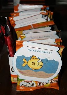 LOVE this healthier VD gift... give to the kids for 2013! I know my kids would rather have goldfish then candy anyway