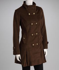 Brown Double Breasted Coat - Women