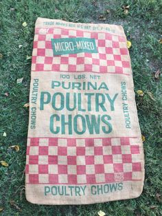 Vintage Burlap Feedsack, Purina Poultry Chows Chicken Feed, Red Green…