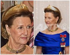 The Royal Order of Sartorial Splendor: Tiara Thursday: The Modern Gold TiaraThis intriguing gem was a gift from King Harald of Norway to his wife, Queen Sonja, for her 60th birthday in 1997. Unlike traditional tiaras, this is mostly metal on display: strips of gold with tiny diamonds set in gold wedged in between periodically. It comes with earrings and matching necklaces.