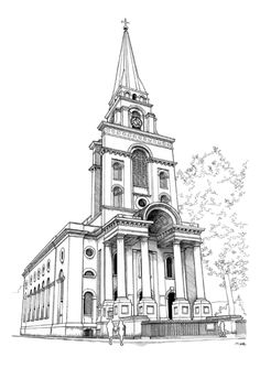 Mike Hall Christ Church Spitalfields Line Drawing Print - Trouva Chiswick Park, London Illustration, China Architecture, Building Sketch, Commercial Street, Heart Wall Art, Paper Wall Art, London Landmarks, Line Drawing