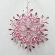 Holiday Time Pink Metal Snowflake Orn