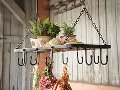 A pot rack can be used to dry herbs!