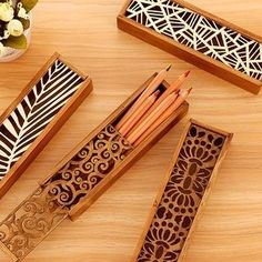 Your kid will stand out at school with these fun pencil cases! Laser Cutter Ideas, Laser Cutter Projects, Laser Art, 3d Laser, Wood Cutting, Laser Cutting, Wooden Crafts, Diy And Crafts, Lazer Cutter