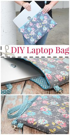Sewing Patterns Get ready for back-to-school with this easy DIY Laptop Bag craft! Your student will love carrying around this stylish bag. Create this project in time for them to go back to school. - Make your own DIY Laptop Bag with this easy tutorial! Easy Sewing Projects, Sewing Projects For Beginners, Sewing Hacks, Sewing Tutorials, Sewing Crafts, Sewing Tips, Diy Projects, Sewing Basics, Sewing Ideas