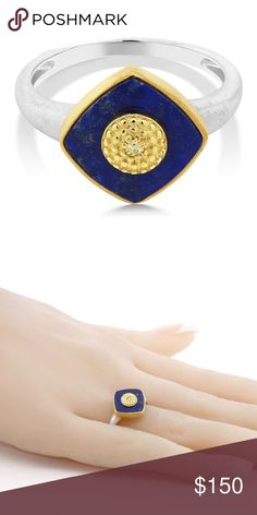 Blue Lapis Yellow Diamond 925 Silver & Gold Ring A truly unique, vintage style piece, this ring is a true must have for any jewelry/boho lover. Makes a unique, stylish engagement ring.  Lapis Lazuli with yellow diamond accent in center.  Bezel setting.  Includes appraisal report.  Life time guarantee on replacement stone for defects.  Made in the USA.  Takes 1 week for delivery. Color ME Crazy Boutique Jewelry Rings
