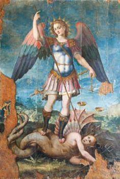 """São Miguel Arcanjo Príncipe dos Anjos  São Miguel Arcanjo, defendei-nos no combate, sede o nosso refúgio contra as maldades e ciladas do demônio. Ordene-lhe Deus, instantemente o pedimos, e vós, príncipe da milícia celeste, pela virtude divina, precipitai no inferno a satanás e aos outros espíritos malignos, que andam pelo mundo para perder as almas. Amém""""."""