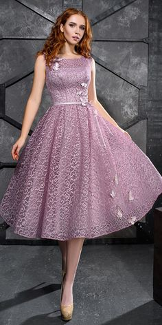 Unique Prom Dresses, discount Exciting Lace Scoop Neckline Tea-length A-line Prom Dress With Sash & Handmade Flowers With Beadings, There are long prom gowns and knee-length 2020 prom dresses in this collection that create an elegant and glamorous look Long Prom Gowns, A Line Prom Dresses, Dresses Uk, Homecoming Dresses, Evening Dresses, Casual Dresses, Fashion Dresses, Girls Dresses, Bridesmaid Dresses