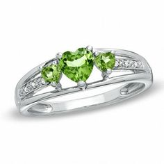 Zales Heart-Shaped Peridot Three Stone and Diamond Accent Ring in Sterling Silver
