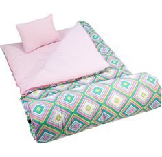 My Sweet Dreams Baby - Pink Retro Kid's Sleeping Bag (http://www.mysweetdreamsbaby.com/wsleepingbags.htm)