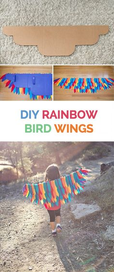 Make beautiful and easy no-sew rainbow DIY bird wings. A fun Halloween costume for kids or great for pretend play! Make beautiful and easy no-sew rainbow DIY bird wings. A fun Halloween costume for kids or great for pretend play! Bird Crafts, Fun Crafts, Arts And Crafts, Projects For Kids, Diy For Kids, Crafts For Kids, Diy Projects, Disfraz Up, Bird Wings Costume