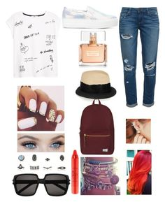 """Untitled #231"" by dounia-bts-swag ❤ liked on Polyvore featuring Paige Denim, MANGO, Joshua's, Eugenia Kim, kitsch island, Yves Saint Laurent, tarte, Herschel Supply Co. and Givenchy"