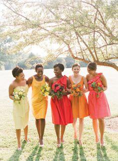 Citrus coloured bridesmaids dresses, yellow, orange, peach  More bridesmaid inspiration here http://raspberrywedding.com/gallery-bridesmaid-dress-colour-ideas-inspiration/