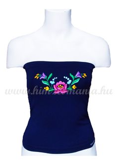 Top - hungarian folk hand-embroidered - navy