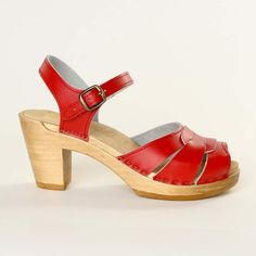 Square Accent Clog Red | Marie Rivers. I love these!!!