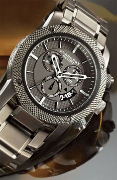 Diamond Watches Collection : Burberry Sport Chronograph Bracelet Watch - Watches Topia - Watches: Best Lists, Trends & the Latest Styles Bracelet Cuir, Bracelet Watch, Luxury Watches, Rolex Watches, Diamond Watches, Cool Watches, Watches For Men, Look 2015, Patek Philippe