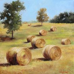 Farmhouse Chic Golden Round Hay Bales 16x16 by ChatterBoxArt