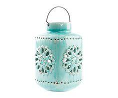 Farol de cerámica - azul envejecido. Largo: 21 cm Alto: 33 cm Ancho: 21 cm 67€