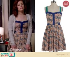 Tessa's floral dress with blue contrast trim on Suburgatory.  Outfit details: http://wornontv.net/14435/