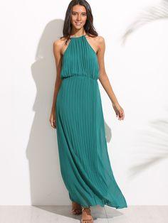 Pleated Chiffon Halter Maxi Dress