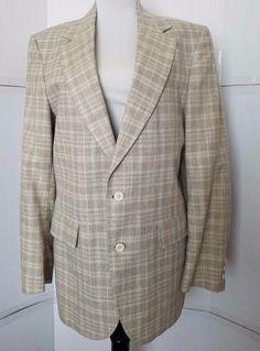 Vintage Shefford Men's Blazer Size 42R Plaid Beige Two Button  #Shefford #TwoButton
