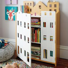 The Land of Nod's Brownstone Bookcase fits perfectly in any room, and it features four adjustable shelves to house your entire book collection.