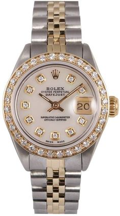 Buy your lady datejust watch Rolex on Vestiaire Collective, the luxury consignment store online. Second-hand Lady datejust watch Rolex White in gold and steel available. Elegant Watches, Stylish Watches, Luxury Watches For Men, Beautiful Watches, Cool Watches, Cheap Watches, Casual Watches, Gold Rolex, Rolex Vintage