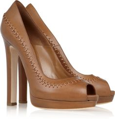 ALEXANDER MCQUEEN ENGLAND Stitched Leather Peep-toe Pumps