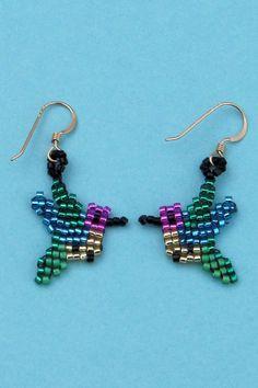 Hummingbird Earrings Seed Bead Earrings by CreationsbyWhiteWolf