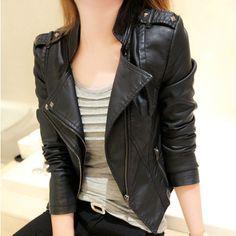 Stand Collar PU Zipper Slim Short Jacket