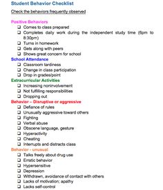 This is a behavior checklist made by San Jose State University that I modified. It can be used with high school students.